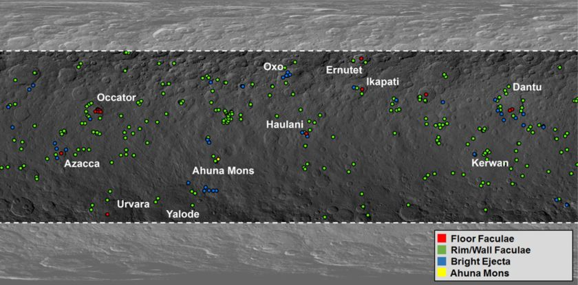 Occator Crater's bright spots