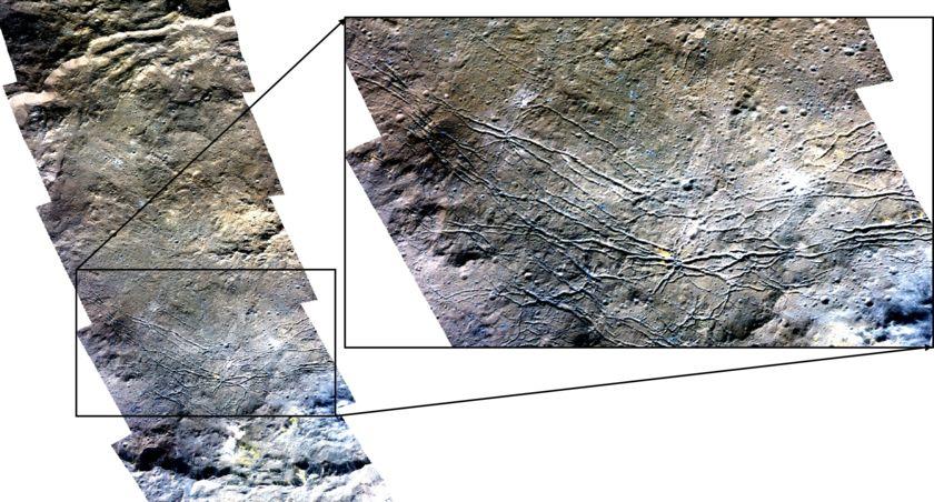 Rugged terrain in Dantu Crater