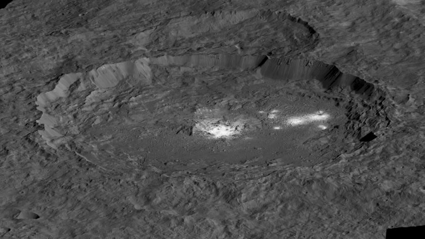 Occator Crater oblique view from south