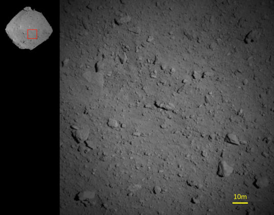 Hayabusa2 closeup on Ryugu from 1250 meters, 6 August 2018