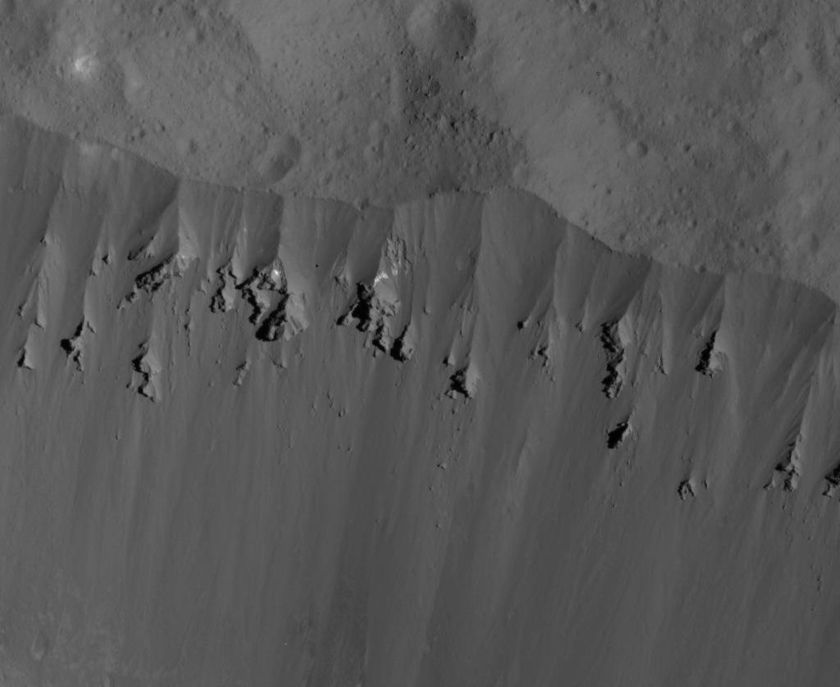 Occator Crater's northeastern wall