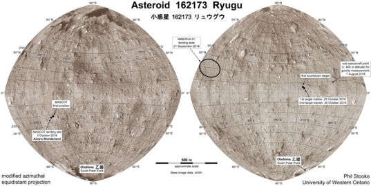 Map of asteroid 162173 Ryugu by Phil Stooke