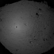 Hayabusa2 photo of Ryugu during sampling descent