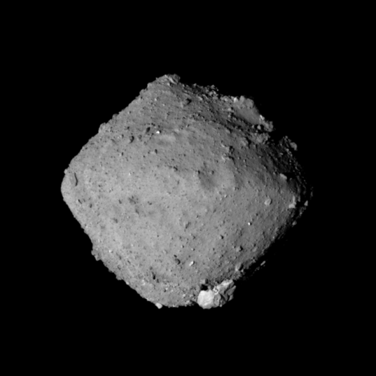 Global view of Ryugu (Brabo crater perspective)