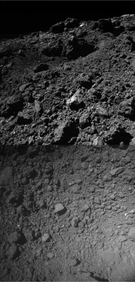 Oblique Composite View of Ryugu's Artificial SCI Crater