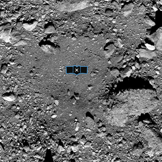 Bennu Sample Site with OSIRIS-REx Overlay