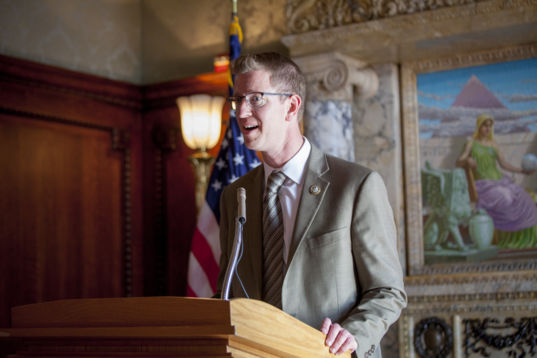 Rep. Derek Kilmer (D-WA) addresses the crowd