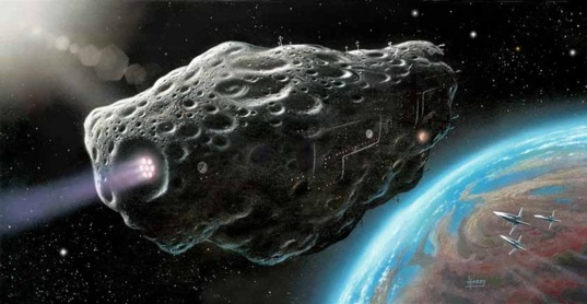 Artist's concept of an asteroid ship