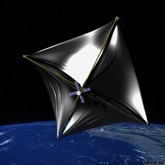Solar Sail Passing Over Earth