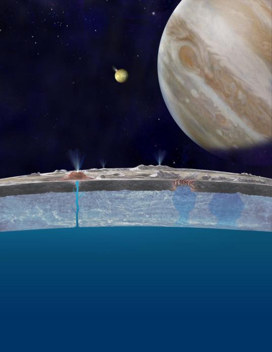 Artist's concept of Europa's ocean and plumes