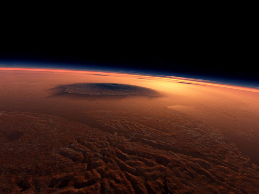 Artist's conception of the view from Mars orbit