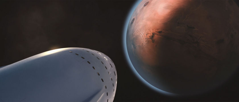 SpaceX's Interplanetary Transport System Approaching Mars