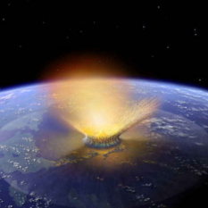Artist concept of giant asteroid impacting Earth by Don Davis