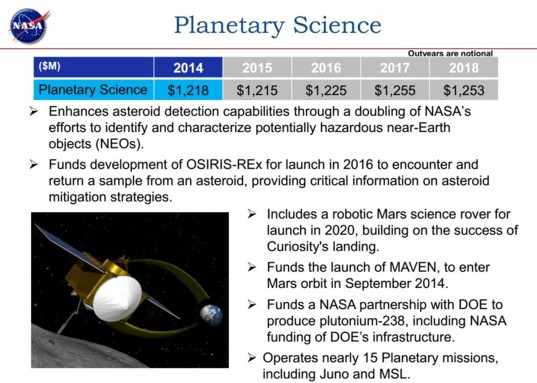 FY14 planetary science Bolden budget overview