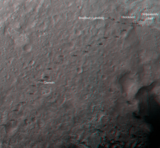 3D route map for Curiosity: From Bradbury Landing to beyond Darwin, sols 0-431