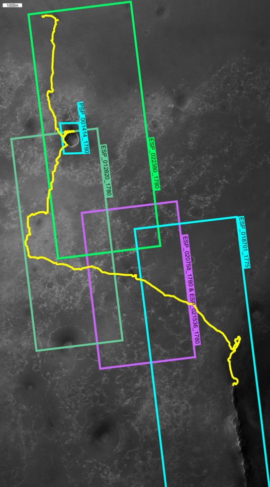 Map of HiRISE anaglyph image coverage for the Opportunity traverse