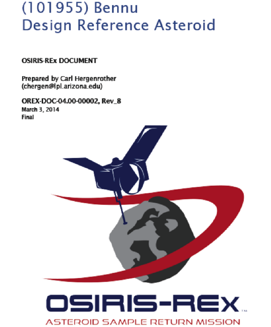 Cover page of the OSIRIS-REx Design Reference Asteroid document