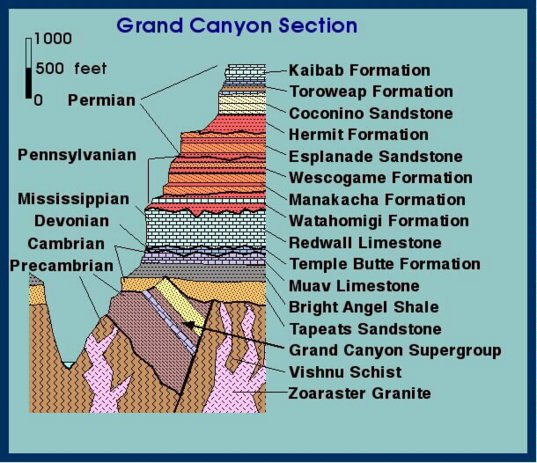 The stratigraphic sequence of the Grand Canyon