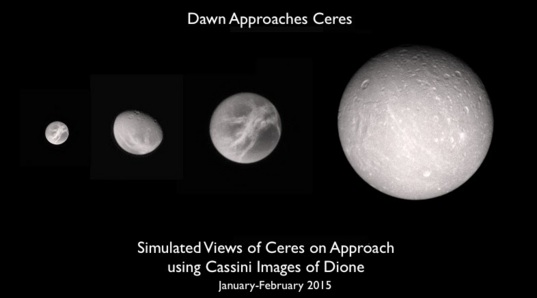 Simulated views showing the sorts of things we might see on approach to Ceres this winter
