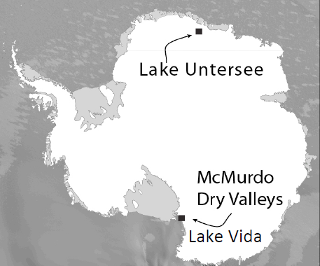 Locations of the two lakes on the Antarctic landmass