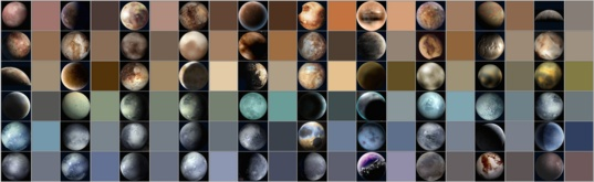 Sample of 'Pluto' illustrations and their extracted 'modal colors'