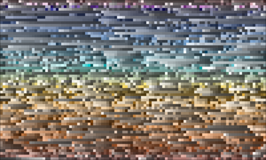 The grid of colors used to illustrate Pluto