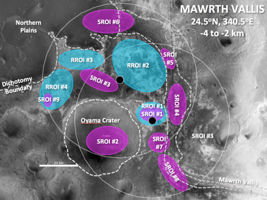Mawrth Vallis proposed exploration zones