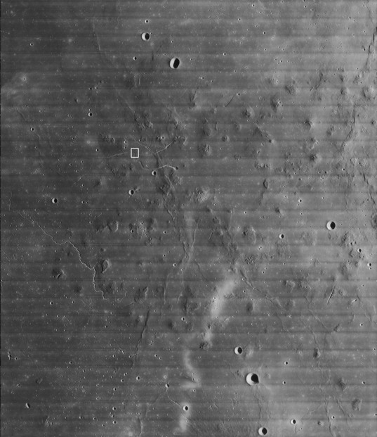 Location of Lunar Orbiter IV 157-H2 (regional view)