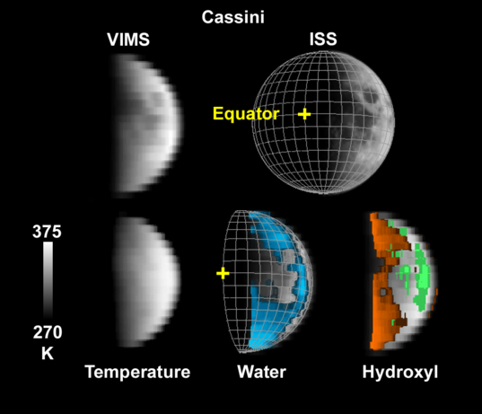 Cassini VIMS view of water on the Moon