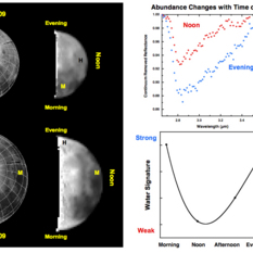 Lunar water abundances change with time of day