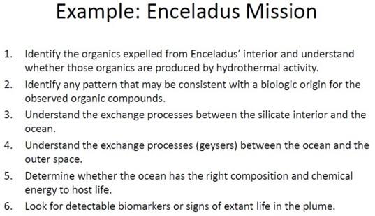 Example: Enceladus Mission