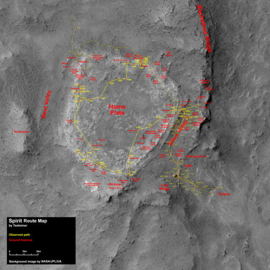 Spirit route map to sol 1466