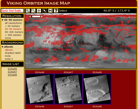 Arizona State University's Mars Global Data Access Map Interface