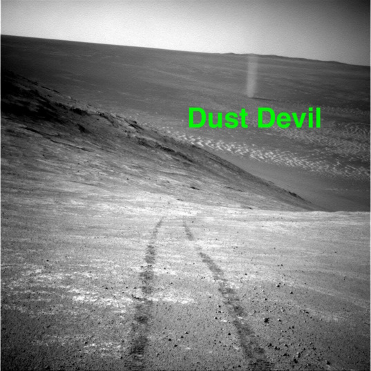 Navcam view of sol 4332 dust devil