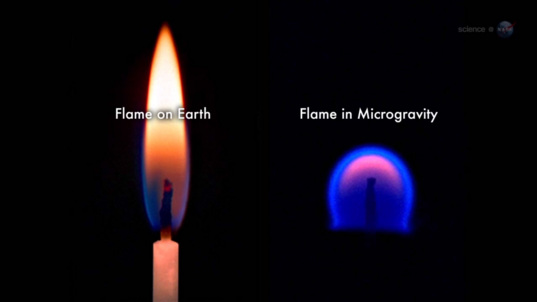 Flame on Earth vs. microgravity