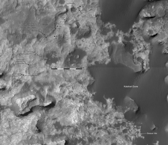 Phil Stooke's Curiosity Route Map Detail: into Murray buttes, sols 1383-1418
