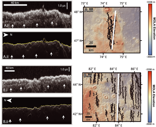 Examples of subsurface reflectors in western Utopia Planitia