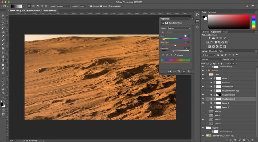 Putting together the final image in Adobe Photoshop