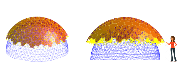 Two views of a completed PANO-SETI dome