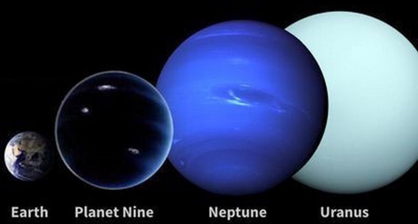 Size comparison of Planet Nine to other known solar system planets