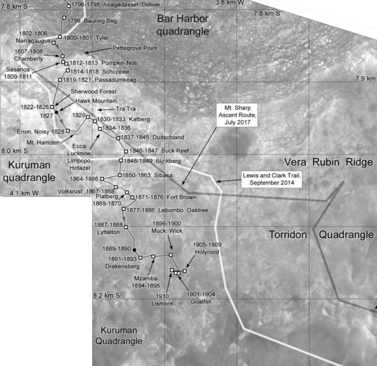 Phil Stooke's Curiosity Route Map Detail: Across Vera Rubin Ridge (sols 1796-1910)