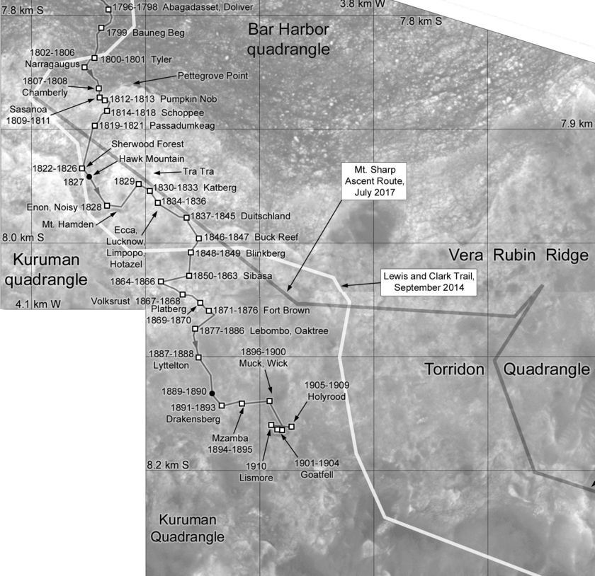 Phil Stooke's Curiosity Route Map update: Across Vera Rubin Ridge (sols 1796-1910)