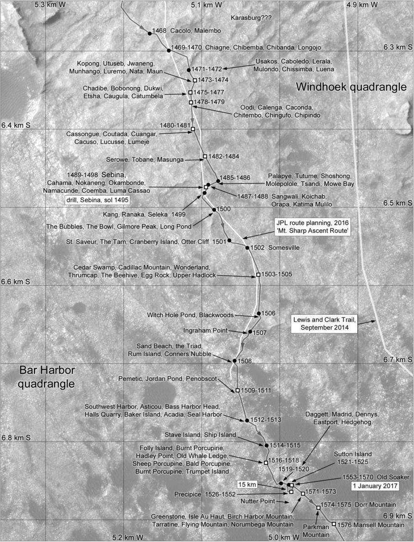Phil Stooke's Curiosity Route Map Section 12: Sebina and Precipice (sols 1468-1576)