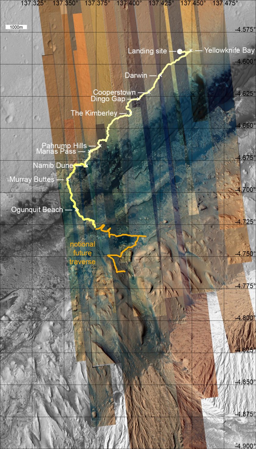 Color HiRISE swaths covering the Curiosity field site