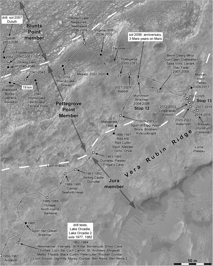 Phil Stooke's Curiosity Route Map: Completing the first walkabout of Vera Rubin ridge, sols 1950-2085