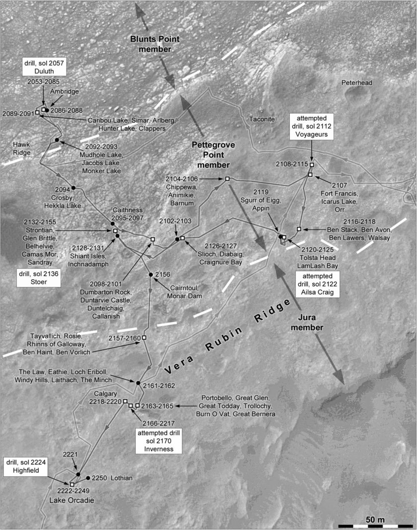 Phil Stooke's Curiosity Route Map: Vera Rubin ridge drilling traverse, sols 2053-2250