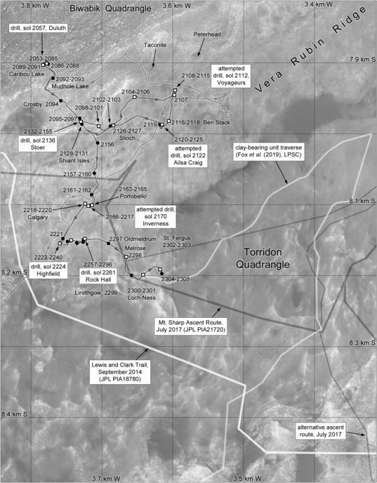 Phil Stooke's Curiosity Route Map Section 16: Atop Vera Rubin Ridge (sols 2053-2305)