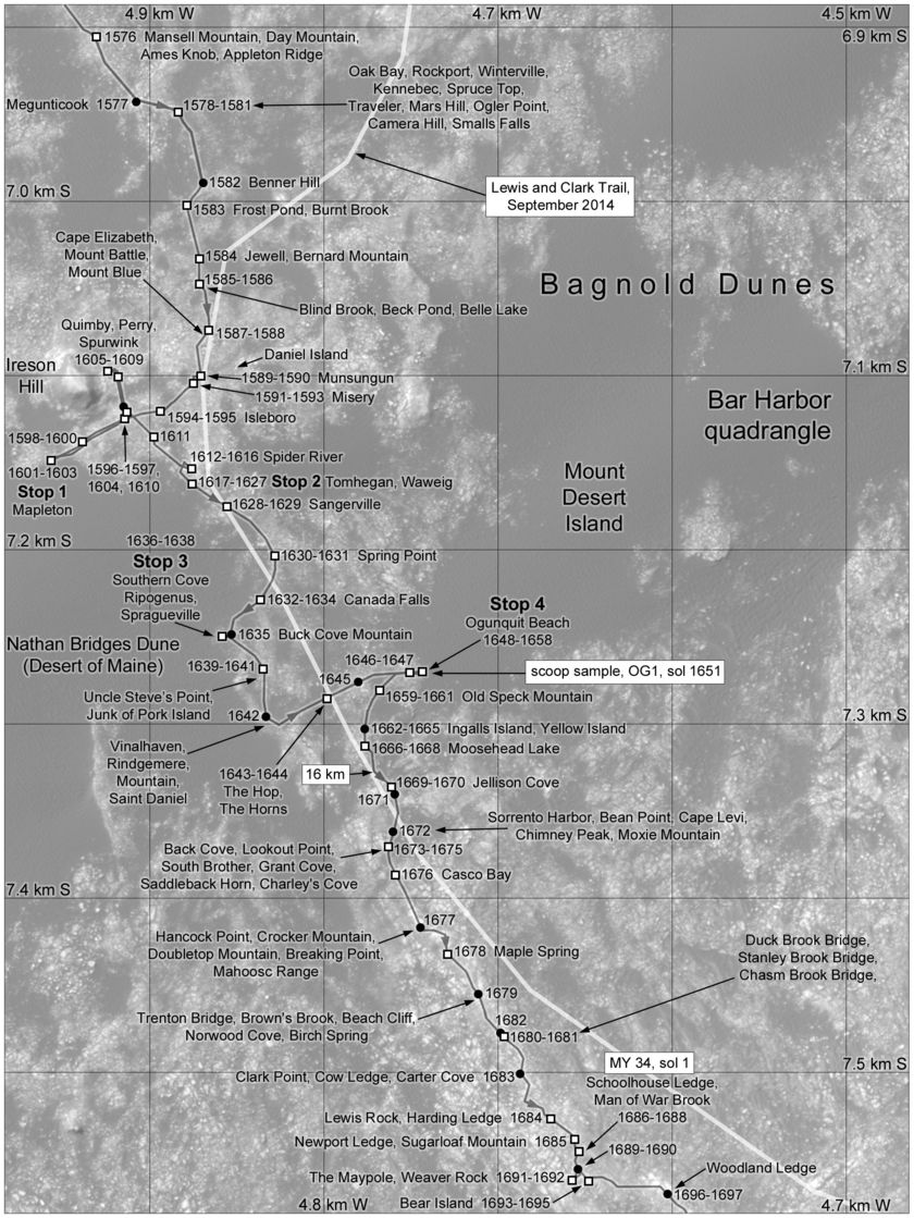 Phil Stooke's Curiosity Route Map Section 13: Ireson Hill, Ogunquit Beach and southern Bagnold dunefield (sols 1576-1697)