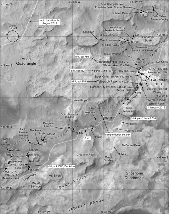 Phil Stooke's Curiosity Route Map Section 8: Pahrump Hills (sols 743-1071)