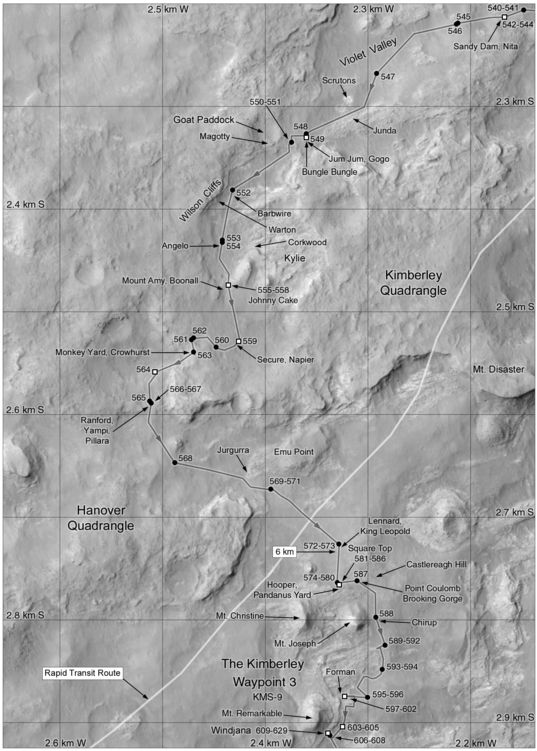 Phil Stooke's Curiosity Route Map Section 5: Junda, Kylie, and Kimberley (sols 540-629)